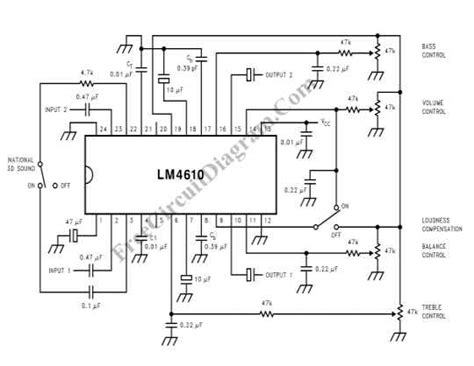 Stereo Tone Control With National Sound Circuit Diagram