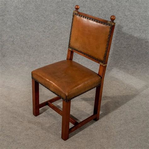 Antique Oak and Leather Set Four Dining Kitchen Chairs