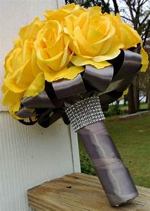 Real Touch Yellow Rose Bridal Bouquet Wedding Flower ...