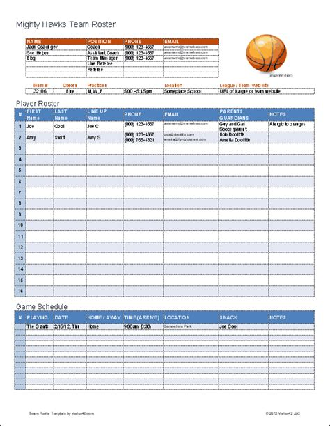 basketball team roster template  excel