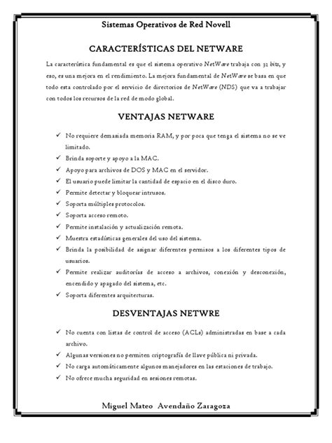 caracter 205 sticas netware