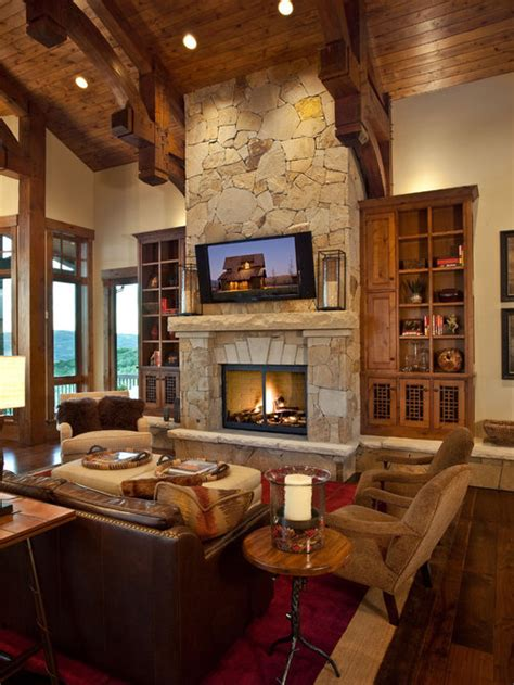 stone fireplace  tv houzz