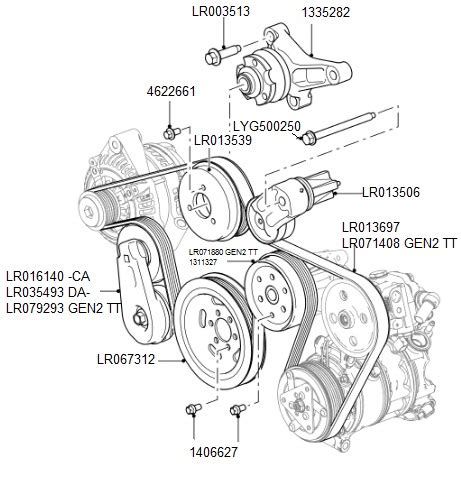 auxiliary drive belt tensioners