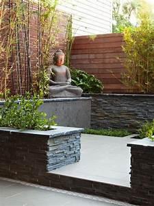 zen garten terrasse schiefer bambus pflanzen buddha statue With französischer balkon mit buddha statue im garten