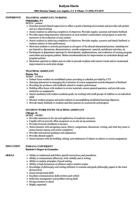 Teaching Assistant Resume by Teaching Assistant Resume Sles Velvet