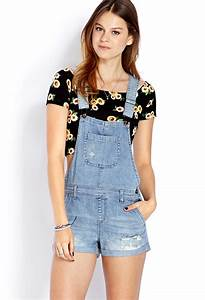 Lyst - Forever 21 Blue Jeans Babe Overall Shorts in Blue