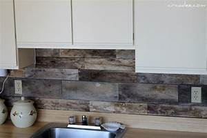 Picture of cheap diy rustic kitchen backsplash for Cheap kitchen backsplash diy