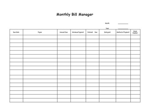 printable bill payment list wowcom image results