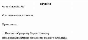 Приказ на главного бухгалтера с правом подписи финансовых документов