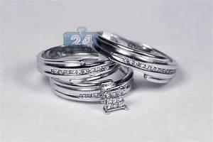 diamond wedding rings set bride groom 14k white gold 030 ct With groom wedding rings