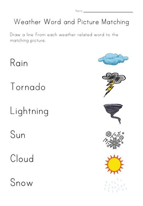 weather worksheet matching worksheets