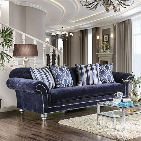 Navy Sofa by Eleanor Transitional Navy Blue Microfiber Sofa With Rolled