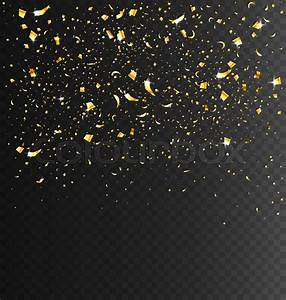 Festive Celebration Golden Confetti on Transparent Dark