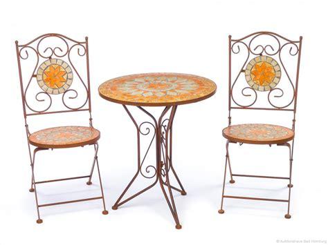 Tisch Und Stuhl by Garnitur Gartentisch 2 St 252 Hle Eisen Fliesen Mosaik Garten