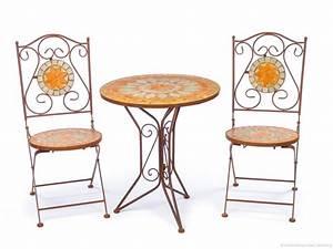 garnitur gartentisch 2 stuhle eisen fliesen mosaik garten With französischer balkon mit tisch schmiedeeisen garten