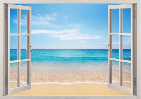 3d Window Ocean View Blue Sea Home Decor Wall Sticker: Beach Wall Sticker 3D Window Tropical Sea Wall Decal For Home