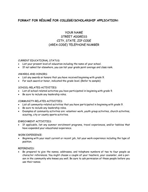 Curriculum Vitae For Scholarship Application Exle by Scholarship Resume Template Berathen