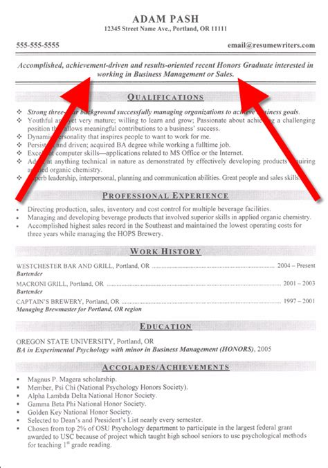 Objective Resume Statement by Resume Objective Exle How To Write A Resume Objective