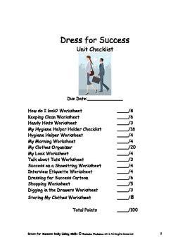 dls dress  success workbook daily living skills