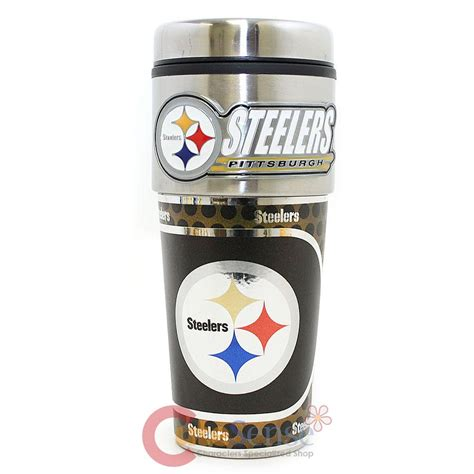 Pittsburgh Steelers Coffee Mug NFL Football Travel Tumbler Cup  Metallic Logo   eBay
