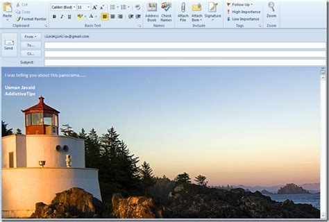 outlook  add background image  mail compose window