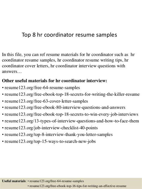 Hr Coordinator Resume by Top 8 Hr Coordinator Resume Sles