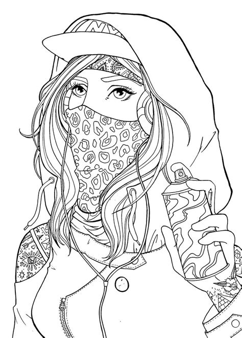 #Graffiti #girl #drawing #lineart | Coloring pages for