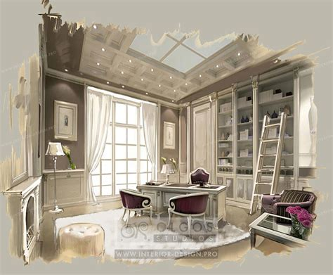 Interior Design Of A Study, Photos And 3d Visualisations
