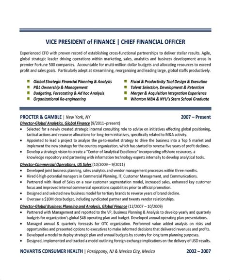 sample finance resume template   documents