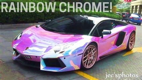 rainbow lamborghini rainbow chrome lamborghini aventador w powercraft exhaust