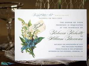 vintage wedding invitations with lily of the valley and forget With wedding invitations with lily of the valley
