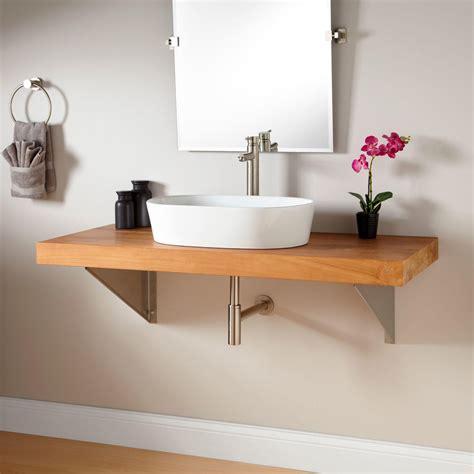 wall mount vanity 49 quot teak wall mount vessel sink vanity triangular