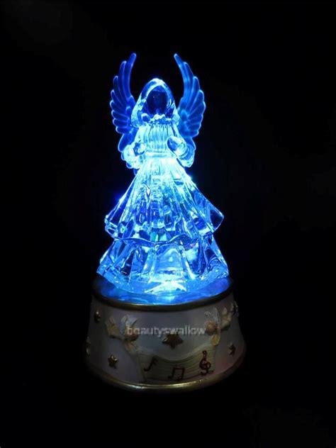 glass christmas light box music box merry go round glass angel harp figurine led