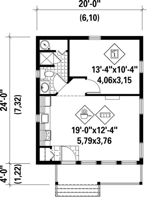 Cabin Style House Plan   1 Beds 1 Baths 480 Sq/Ft Plan #25
