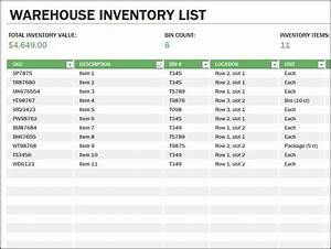 Medical Supply List Template Warehouse Inventory List