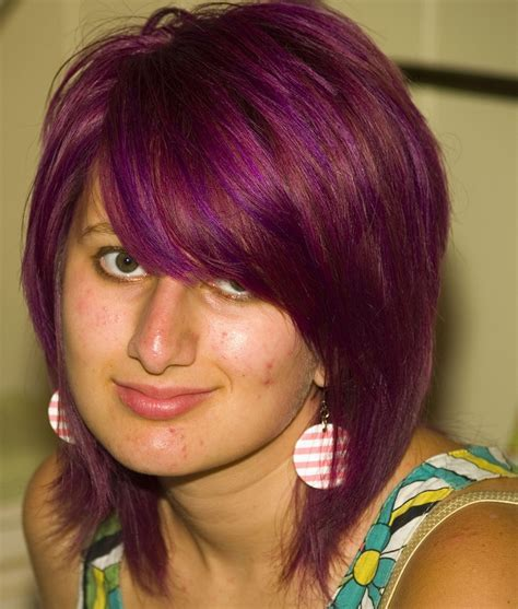 Purple Short Hairstyle With Long Swept Bang