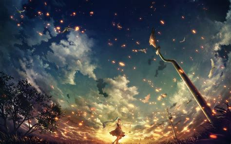 Anime Sunset Wallpaper Hd - anime sunset clouds trees warning signs hatsune miku