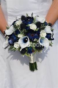 Fresh Touch Dark Blue Anemone Bridal Bouquet w/ Roses ...