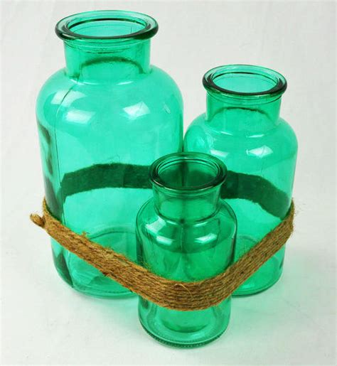 Teal Colored Vases by Trio Of Teal Blue Colored Glass Vases From Pomjoyfun On Etsy