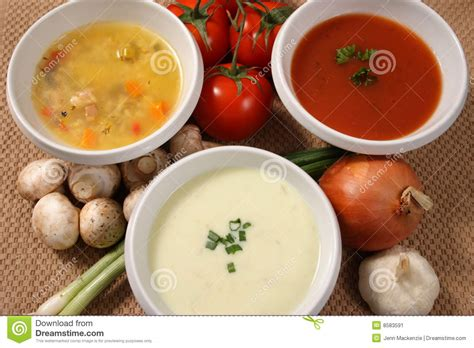 types of soup three soups stock image image 8583591