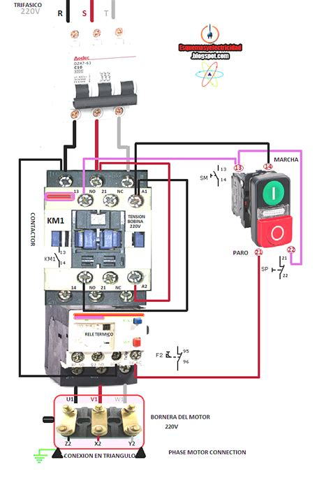 wiring diagram for motor starter 3 phase lively contactor