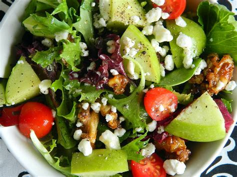 picture of green salad apple parmesan and mixed green salad with mustard vinaigrette recipe dishmaps