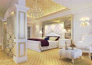 Luxury bedroom golden ceiling and white furniture