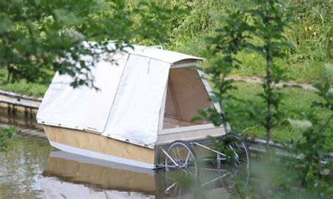 Boat Bed Amart by A Micro Houseboat That You Can Tow With Your Bike Treehugger
