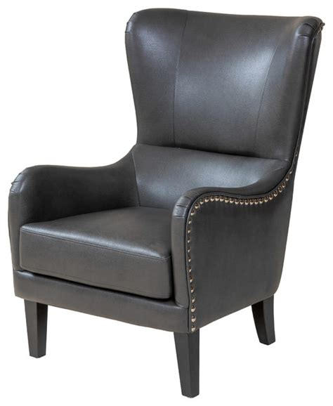 alonzo gray leather studded club chair armchairs and