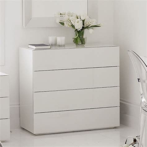 Bedroom Drawers White by High Gloss White Glass Carlton 4 Drawer Chest Of Drawers