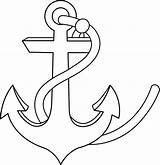 Anchor Clip Outline Coloring Ship Sweetclipart sketch template