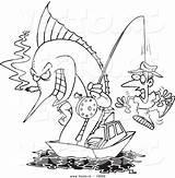 Fishing Marlin Cartoon Hook Vector Coloring Drawing Sketch Fish Drawings Outlined Character Getdrawings Sketches License Royalty sketch template
