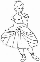 Coloring Ballerina Pages Standing Ballet Sheet sketch template