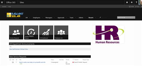 Sharepoint Hr Template by Human Resources Portal Template For Office 365 And